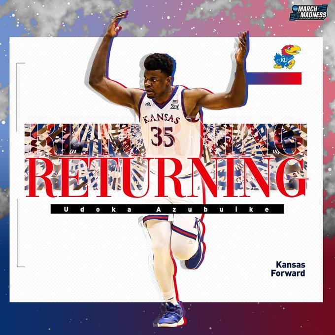 Udoka Azubuike is BACK!  The Kansas big man is returning for his senior year. �