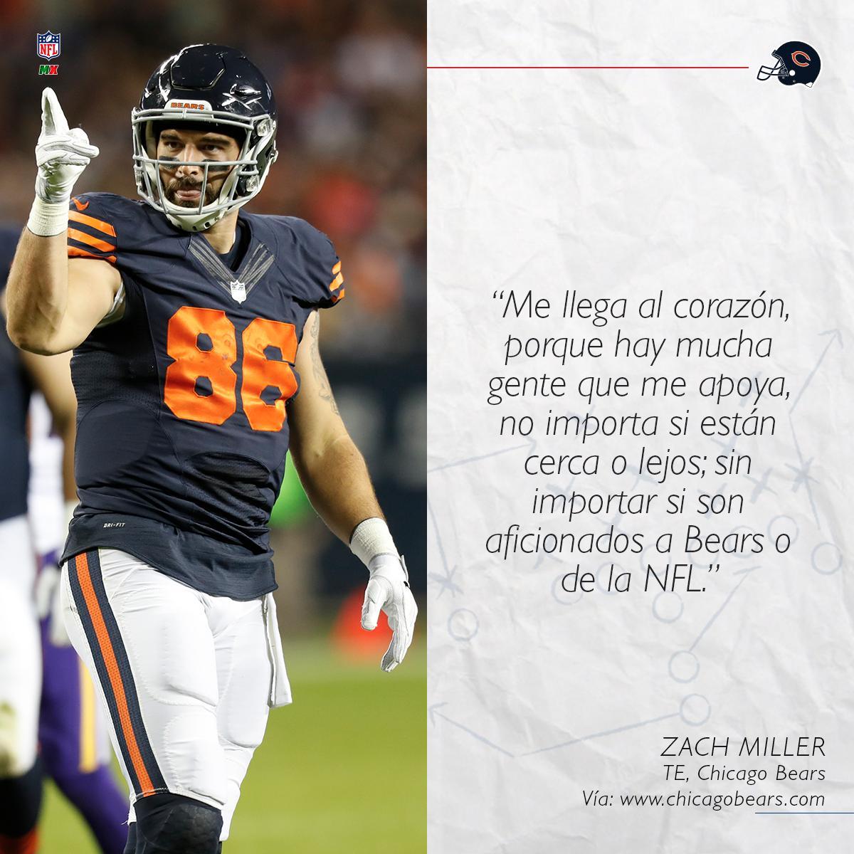 ¡Los aficionados reconocen su talento! 👏😎 El ala cerrada, @ZMiller86 de los @ChicagoBears agradece el apoyo de sus seguidores, incluso mencionó que en México lo siguen mucho 🔝😱 #DaBears #NFLMX