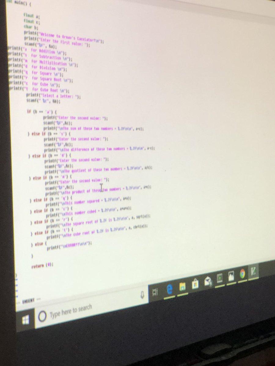 "Megan Skogstad on Twitter: ""Arnav sharing his Genius Hour presentation on  coding and the c programming language. He coded a calculator to demonstrate  to the class. #GeniusHour #weinspireEACH… https://t.co/JaEnHXQWYY"""