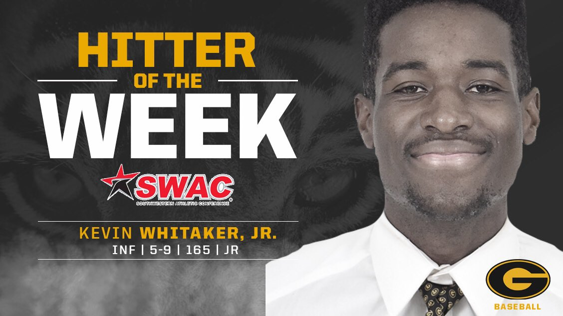 Congrats to Kevin Whitaker for being selected the @theswac Baseball Hitter of the Week #RespectTheG #grambling #gramblingstate #gramblingstateuniversity #WhyNotGrambling #gramblingiseverything #gramfam #continuingthelegacy #buildingchampions #raisingthebar<br>http://pic.twitter.com/heJ1LAcDei