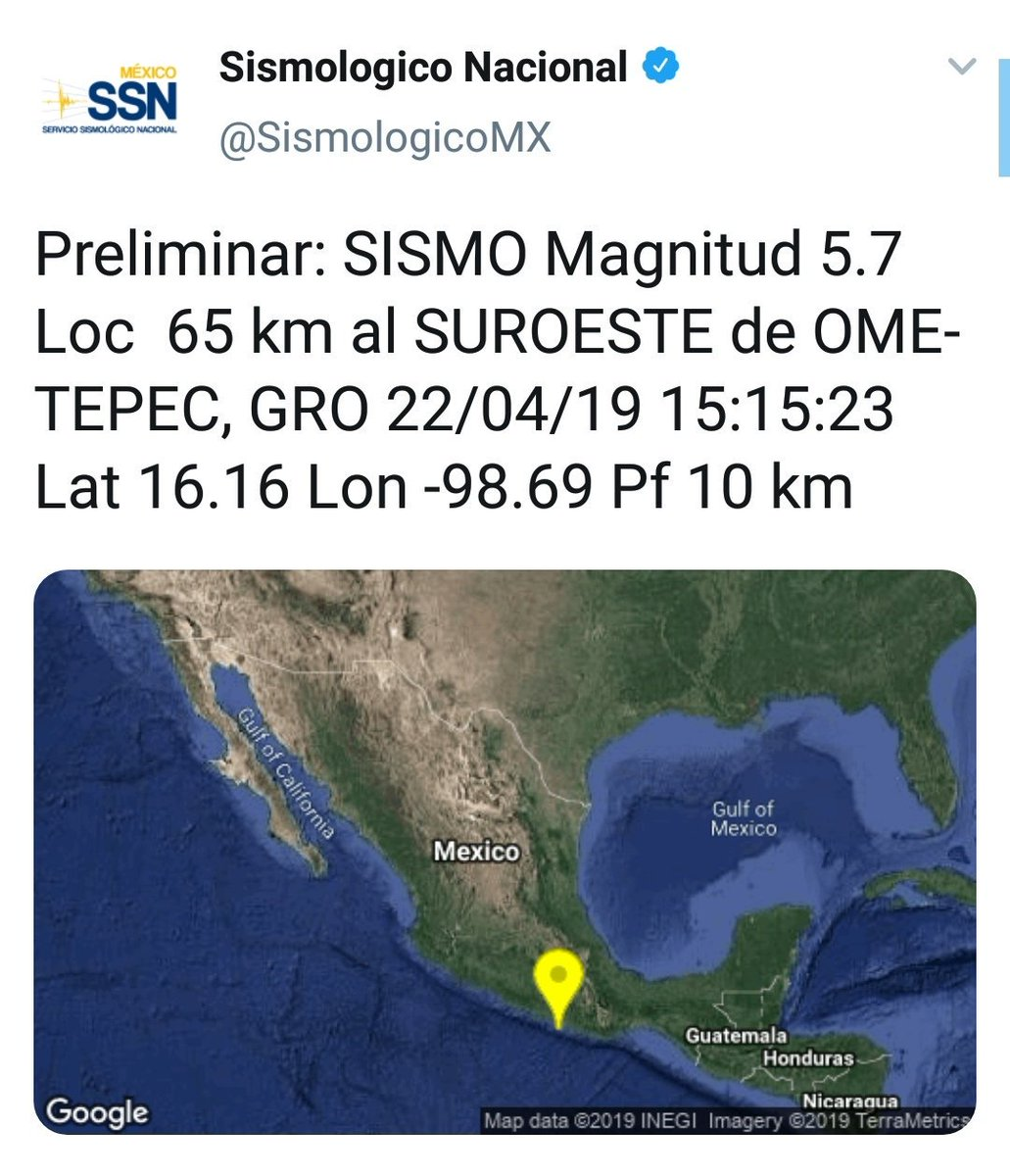 Reportan #Sismo de 5.7 grados   El Servicio Sismológico Nacional (SSN) registró un movimiento de 5.7 grados a las 15:15 horas de este lunes.  El movimiento telurico fue perceptible en los Estados de Oaxaca, Puebla, Guerrero y Ciudad de México #sismos #SSN #Tlaxcala