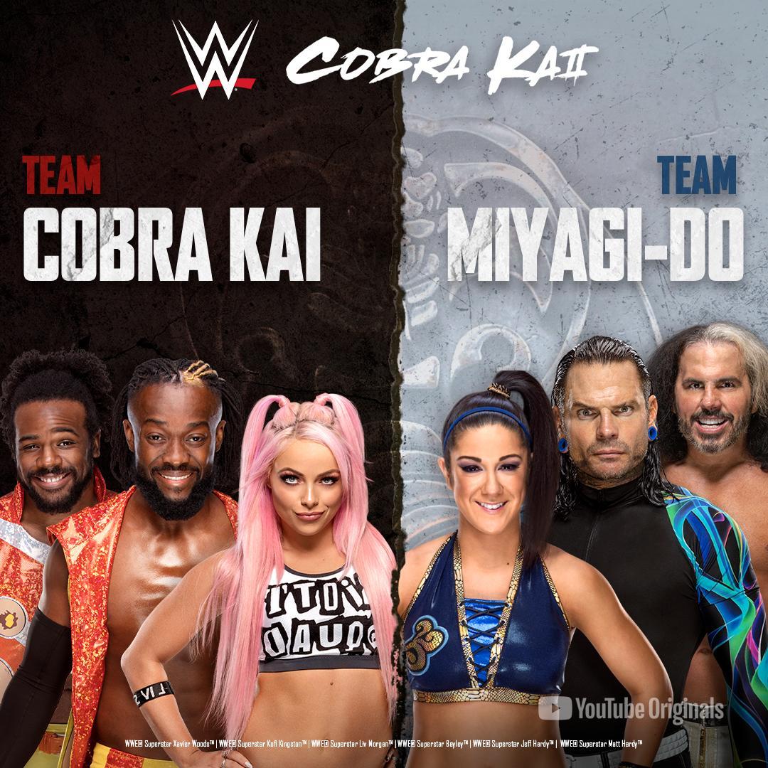 Get FIRED UP! @TrueKofi, @XavierWoodsPhD , @YaOnlyLivvOnce, @MATTHARDYBRAND, @JEFFHARDYBRAND & @itsBayleyWWE fight for #TeamCobraKai or #TeamMiyagiDo TOMORROW at 4 PM EST. @CobraKaiSeries #ad