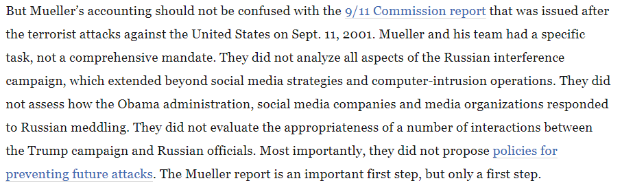 A good reminder from @McFaul: #MuellerReport is not the definitive account of Russia's interference operation. Perhaps we need one.  https://www.washingtonpost.com/opinions/2019/04/19/russia-attacked-us-mueller-report-still-doesnt-give-us-full-story/ …