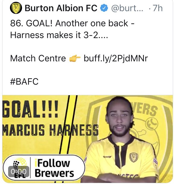 ⚽️ Another goal for @MarcusHarness today means his great form continues. His @SkyBetLeagueOne season so far:  1841 league mins⏱ 30 apps  19 starts  7 assists🎯  5 goals⚽️  @MarcusHarness has provided an assist or goal every 153 minutes this season @burtonalbionfc 🔥