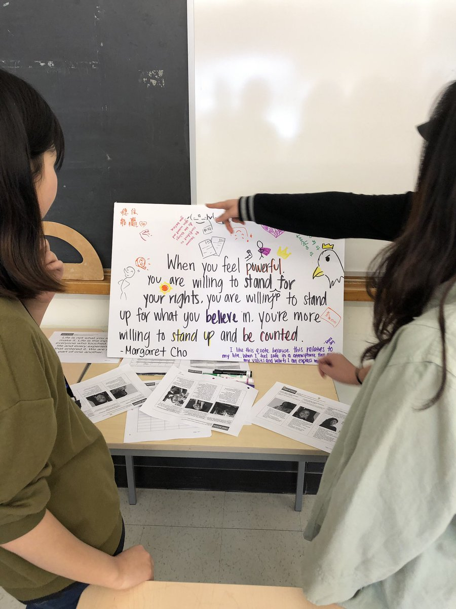 Wonderful last workshop w/ @TSStigersYRDSB students, focusing on #empowerment & how to stay hopeful, despite challenges we face, such as #activist #burnout. Looking forward to students' projects on #modelminoritymyth, #mentalhealth, #comfortwomen & #discrimination! 🙌🏼💪🏼 – at Thornhill Secondary School