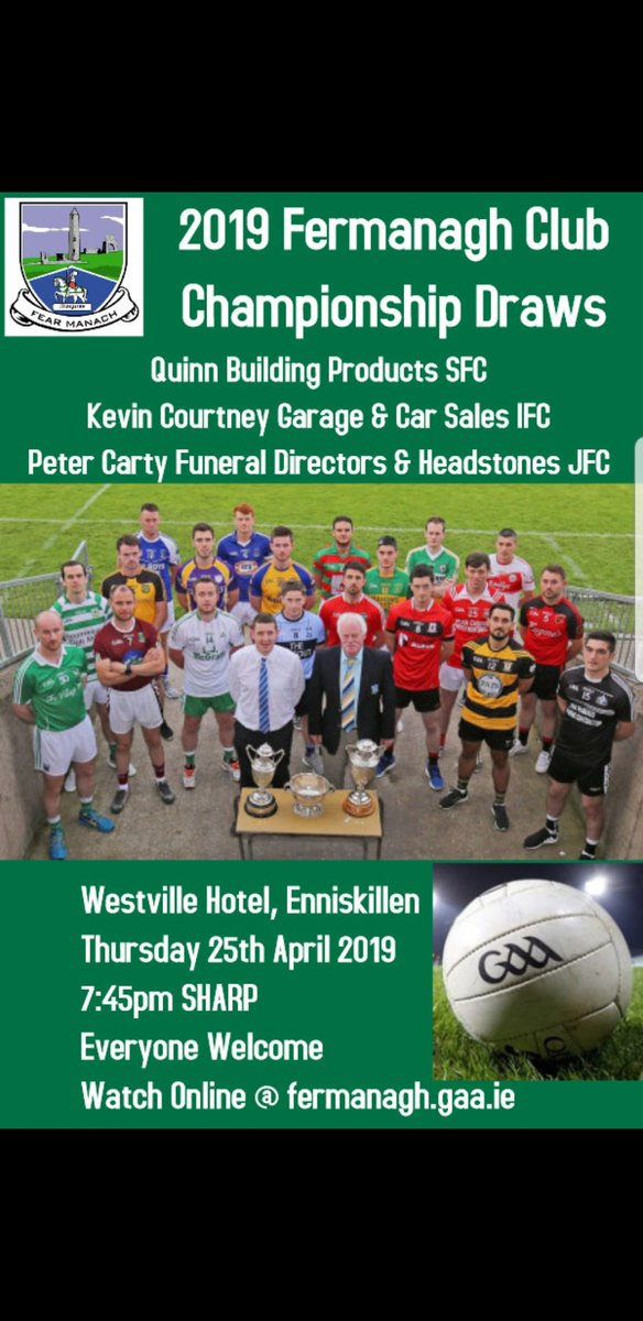 test Twitter Media - This Thursday night you are all invited to the Fermanagh Club Championship draws at the Westville Hotel, Enniskillen https://t.co/EmxmzocZ8f