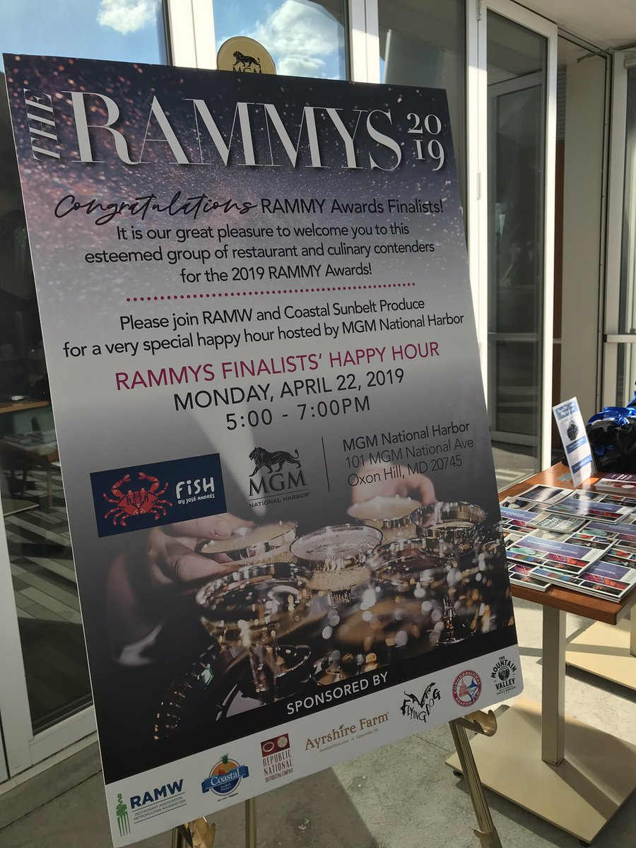 Pumped to be @MGMNatlHarbor's @fishbyjose toasting @RAMWdc's #RAMMYS19 finalists!  Visit  http:// TheRAMMYS.org  &nbsp;   for a complete list of nominees in the running to win big at the Walter E. Washington Convention Center on 6/30  @TheEventsDC<br>http://pic.twitter.com/jKi1XZUHGS &ndash; à Fish by Jose Andres