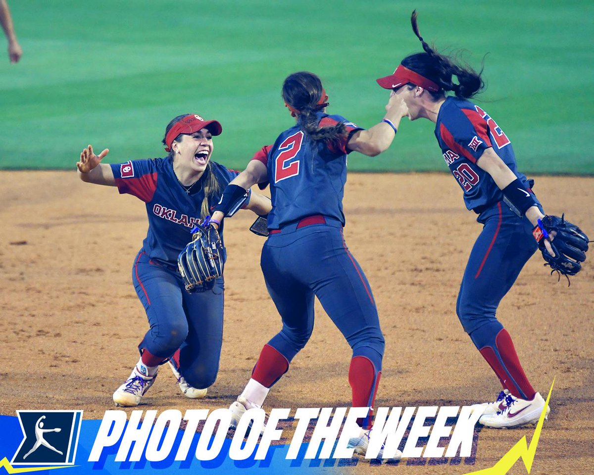 📸 #NCAASoftball Photo of the Week   Freshman shortstop Grace Lyons celebrates with teammates Sydney Romero and Caleigh Clifton after making a game-ending diving catch for @OU_Softball.