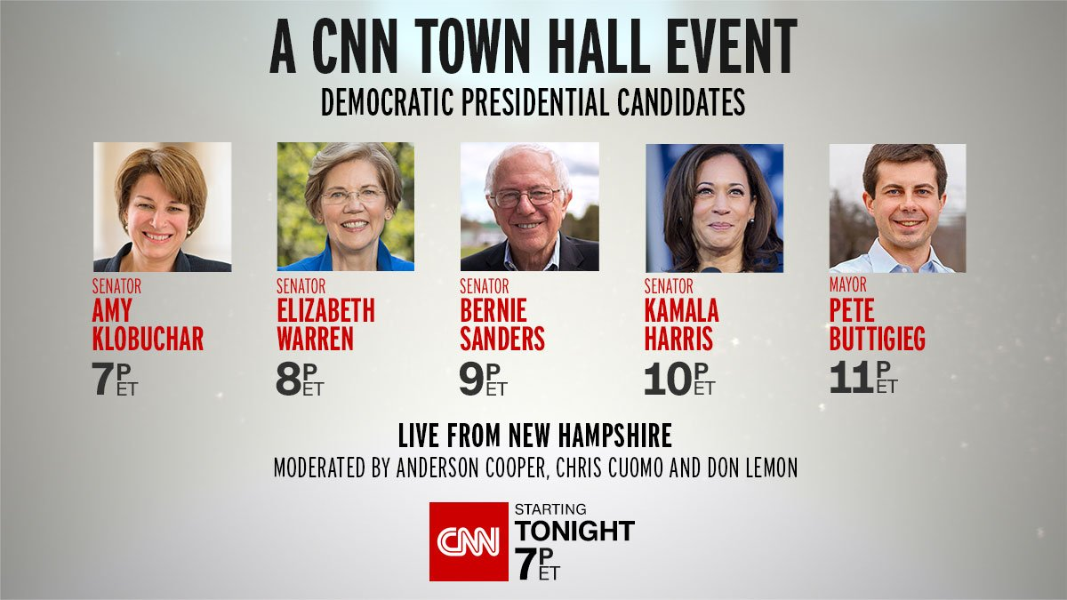 How will today's Democratic candidates appeal to young voters? Hear from Bernie Sanders, Kamala Harris, Elizabeth Warren, Amy Klobuchar, and Pete Buttigieg in back-to-back CNN town halls.  Live tonight starting at 7p ET https://t.co/gMSkF6xrjY