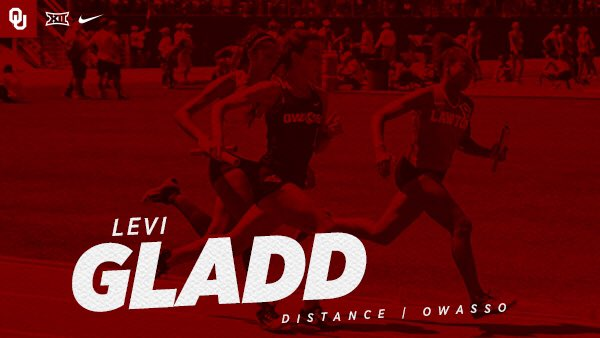 Welcome to the squad, Levi Gladd! Levi joins the #Sooners XC and T&F teams from Owasso HS 💪✍️