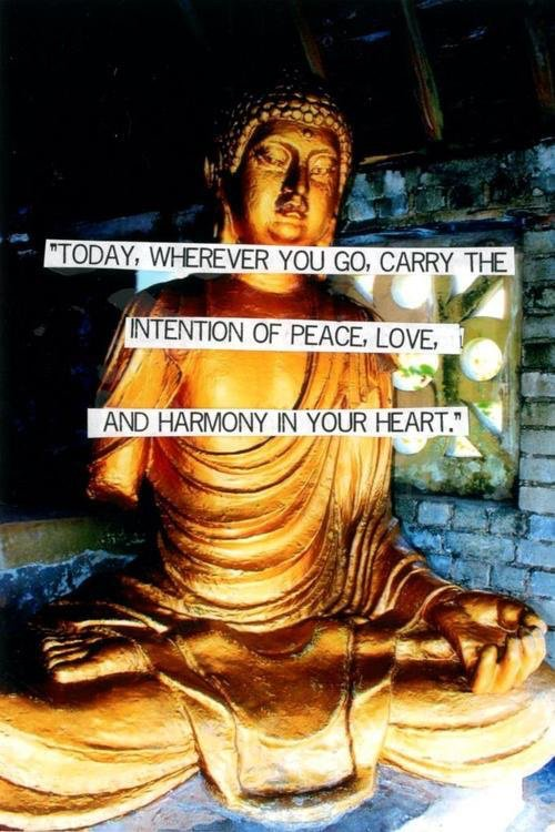 Today, wherever you go, carry the intention of #peace, #love, and #harmony in your #heart.  #ThinkBIGSundayWithMarsha  #InspireThemRetweetTuesday  #JoyTrain #IQRTG #Love #LightUpTheLove #LUTL #TuesdayThoughts #GoldenHearts #ShineOn #ChooseLove #FamilyTRAIN #StarFishClub