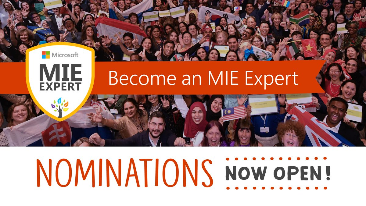 Are you a #OneNote educator looking to be part of a collaborative global community? Self-nominations to become a 2019-2020 #MIEExpert are now open. Start here!  🙌 http://msft.social/2kJWqV #edchat