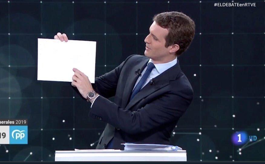 """Así de limpio está el """"nuevo PP""""  #ELDEBATEenRTVE #28A #DebateRTVE #Debate"""