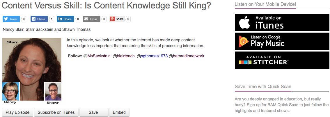 Content Versus Skill:  Is Content Knowledge Still King? http://www.bamradionetwork.com/edchat-radio/4945-content-versus-skill-is-content-still-king…  @MsSackstein  @blairteach  @sgthomas1973 #edchat #education #teaching #edreform