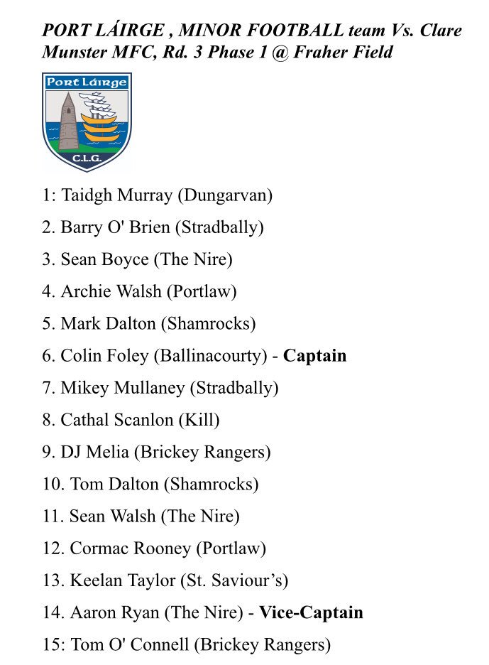 test Twitter Media - Waterford Minor Football Team to face Clare this Wednesday night in Fraher Field has been named  Asking all Waterford Supporters to get out and give the lads & their management team the home support they deserve  Best of Luck to Tom Guiry, his management team and all the panel https://t.co/mprCmIX5Pu