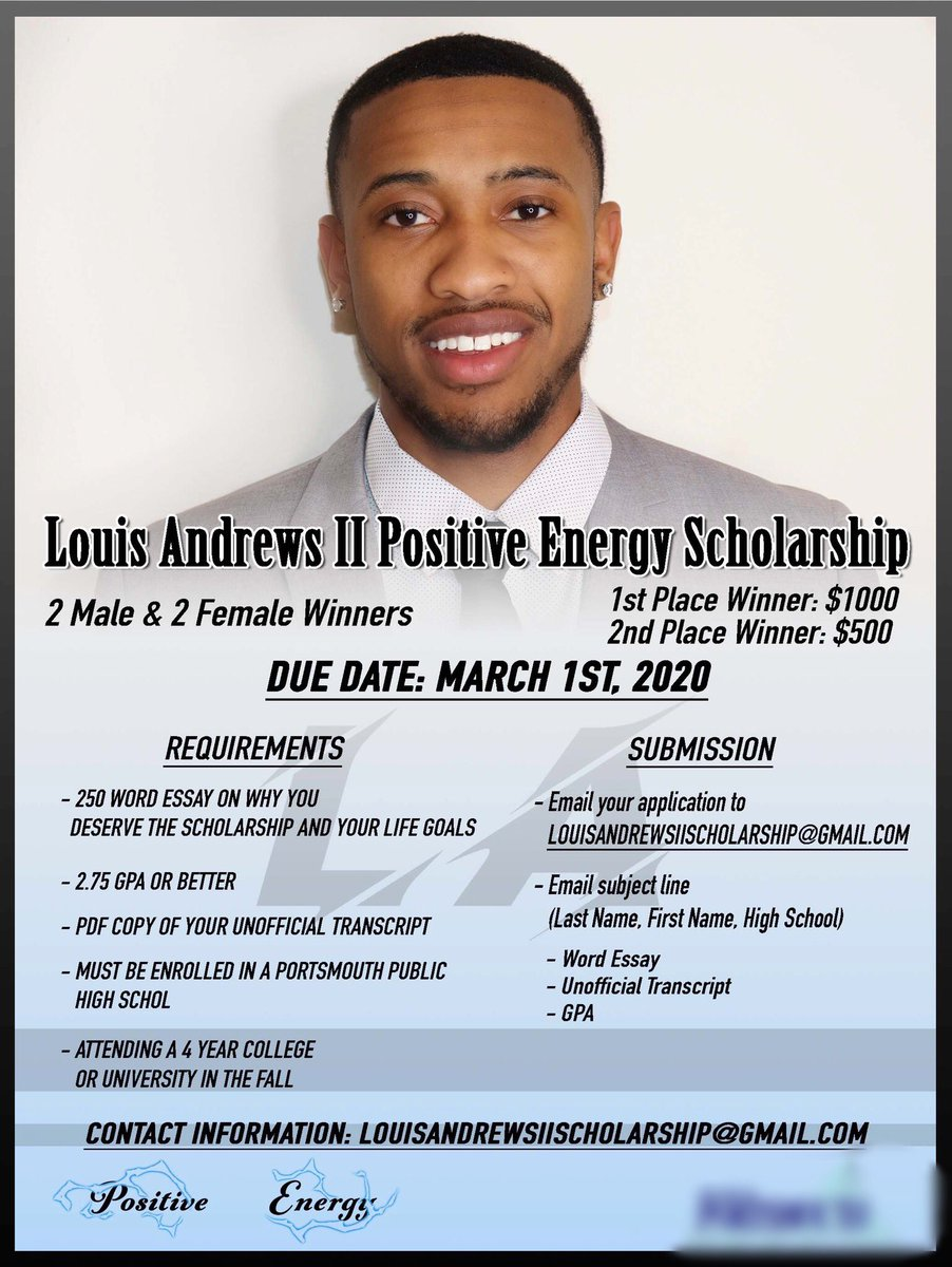 I am proud to announce that I will be starting the Louis Andrews II Positive Energy Scholarship. This scholarship will be offered to the class of 2020 Portsmouth Public School Graduates. There will be a 4 winners total.  If you would like to help donate the link is in the thread<br>http://pic.twitter.com/95oYXh3ibK
