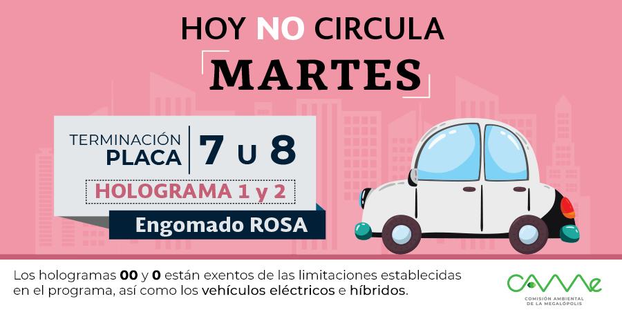 ¡Buenos días!#HoyNoCircula del Martes 21 de mayo en la #ZMVM para vehículos con #EngomadoRosa con terminación de placas 7 y 8, holograma 1 y 2.