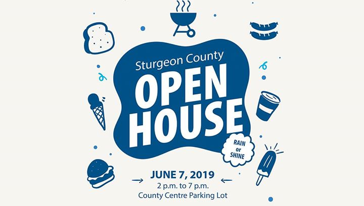 It's back! Join us for the #SturgeonCounty Open House on June 7. There'll be hot dogs, ice cream - even bouncy castles! Come by for a bit, chat with Mayor, Council, and County staff. #SturgeonProud