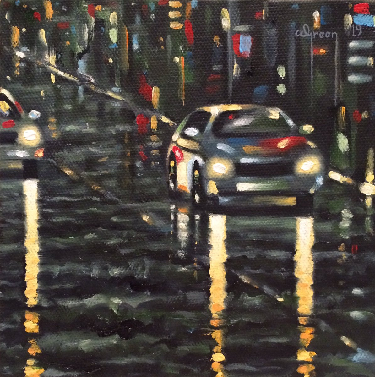 New painting for sale titled, 'Midnight Cityscape' 15cm x 15cm x 4cm oil on stretched canvas 👍 For further details PM me or email info@warrengreenartist.co.uk http://www.warrengreenartist.co.uk  #art #artist #painting #painter #oilpainting #artforsale #cityscape #newyork #cars #newart