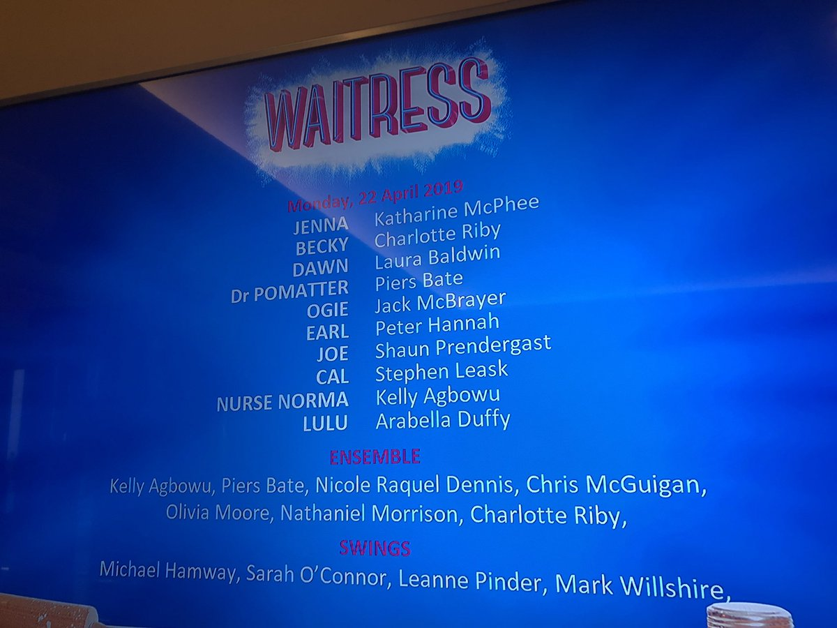 So incredibly proud of my best mate @PiersBate for his stellar leading man performance in WAITRESS! He did not leave his make-up in the car & he was tremendous 👏 #WestEnd #Proud #PieceOfPie
