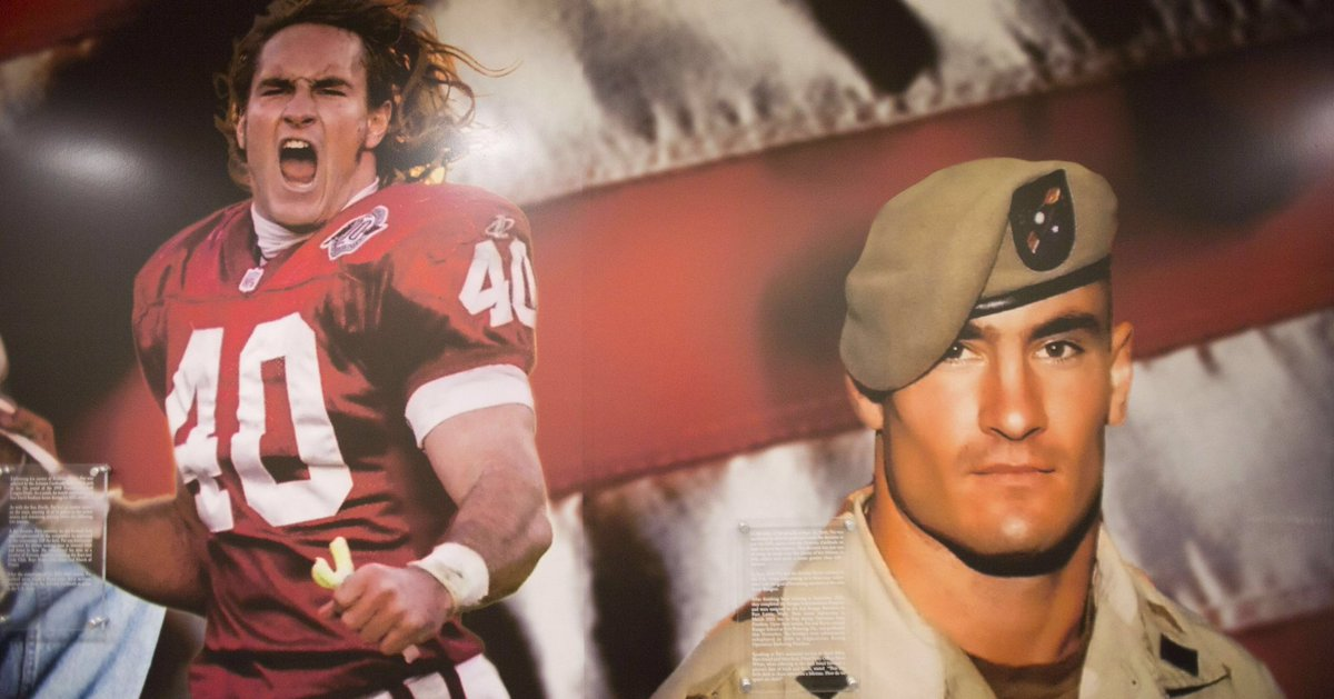 Today, we must remember American hero Patrick Daniel Tillman. He was a former @nfl player but decided to walk away from his career to join the @USArmy Rangers after 9/11. Tillman was a true role model that died 15 yrs ago while defending our country. #neverforget  :@azcentral<br>http://pic.twitter.com/71bPoreYt1