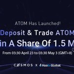 Image for the Tweet beginning: ATOM Has Launched! Deposit &