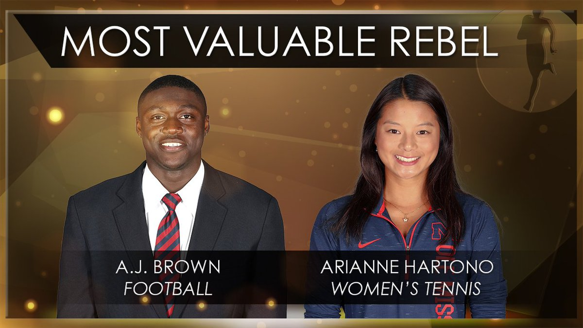 And the #RCA19 for Most Valuable Rebel goes to...  A.J. Brown, @OleMissFB  Arianne Hartono, @OleMissWTennis<br>http://pic.twitter.com/8SDnuk3YP8