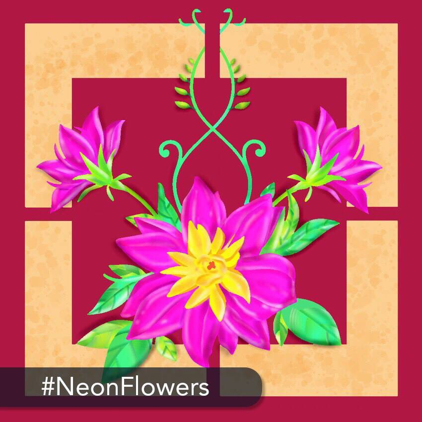 👑Color Therapy Monday General Challenge 🎨 #NeonFlowers 🎨  👑 The challenge: Today's medium challenge is to appreciate the beauty of flowers and color them mostly in neon shades. ❗️Restrictions: ⭐️Use Color: Neon shades for the flowers  #neon #flowers #florals #coloring #color