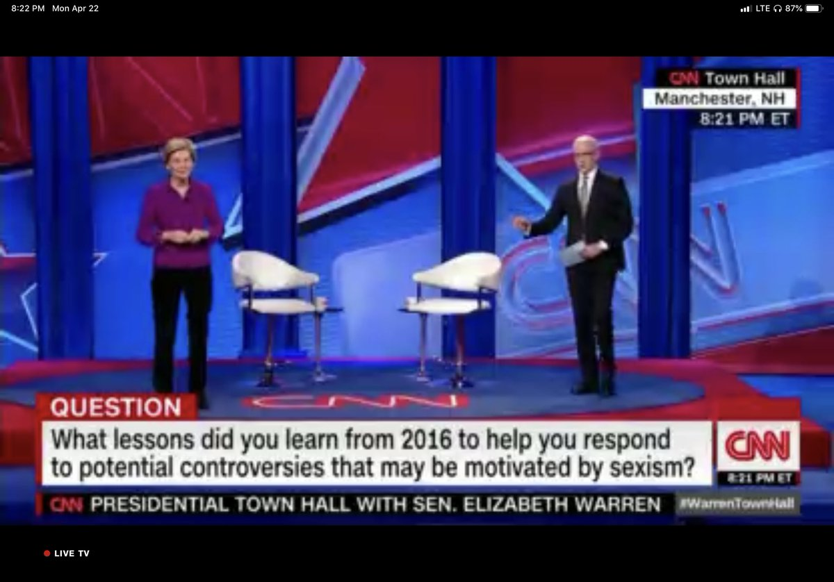 """""""When I first ran for the Senate, I would see little girls in the crowd. And I'd get down on one knee like a teacher and say, 'Hello. I'm Elizabeth and I'm running for Senate - because that's what girls do.'"""" #WarrenTownHall"""
