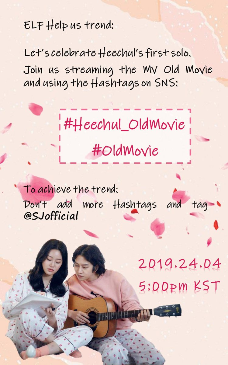 HEECHUL SOLO DEBUT SUPPORT   To celebrate Heechul&#39;s solo debut, we invite all ELFs to join us in tweeting the following HTs on APRIL 24, 5PM KST while we wait for the MV release  #/Heechul_OldMovie #/OldMovie  @SJofficial #SUPERJUNIOR<br>http://pic.twitter.com/2ZOnd4db6q