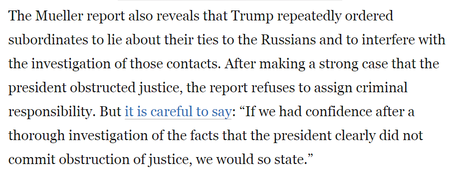 One of the more laughable fictions of late, along with Trump Steaks, Airlines, Casinos, University, etc., is Trump claiming Mueller&#39;s report &quot;TOTALLY EXONERATES!&quot; him - absurd.  https://www. washingtonpost.com/opinions/house -leaders-should-lay-the-groundwork-for-impeachment/2019/04/22/f7fb9e42-653f-11e9-a1b6-b29b90efa879_story.html?noredirect=on&amp;utm_term=.5bd6ceaff3c6 &nbsp; … <br>http://pic.twitter.com/4cTDoQll7L