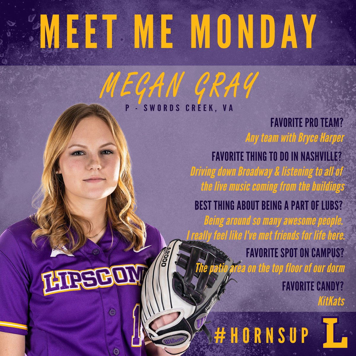 It's getting late, but it's still #MeetMeMonday! Today it's time to meet JR RHP @megan_bryce1! She may be nonchalant & mellow, but she's the team's best hacky sacker! PS- she also threw her 1st career no-hitter earlier this yr! Come catch her & #LUBS tmrw vs APSU @ 5pm! #PUNCH 🤘🏼