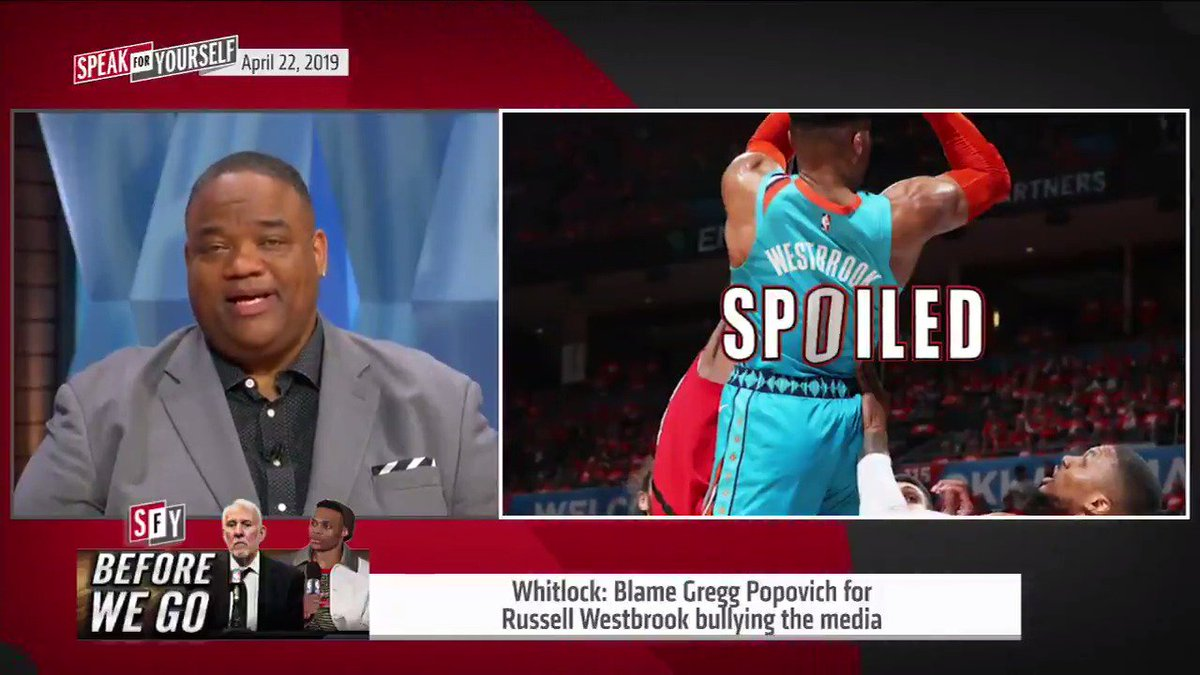 Whitlock: San Antonio Spurs coach Gregg Popovich, the original media bully and control freak, is the reason Russell Westbrook thinks he can bully the media. @WhitlockJason