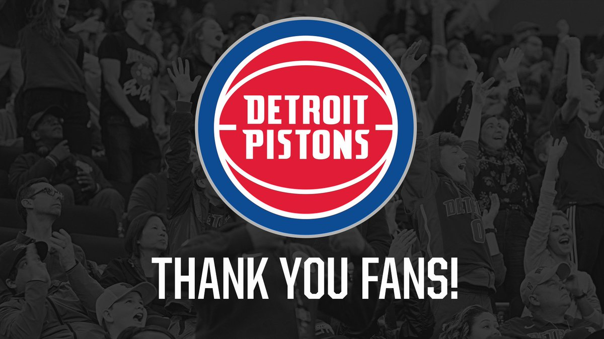 We can't say it enough.   THANK YOU #Pistons fans for your support this season! #DetroitBasketball