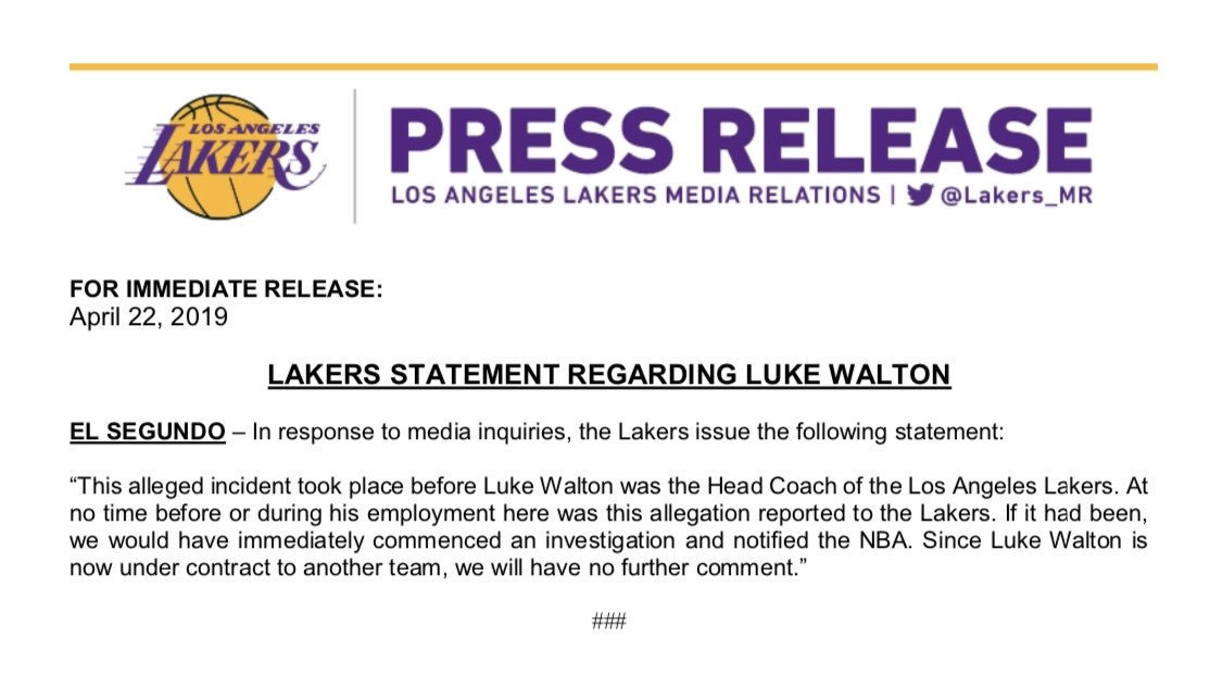Lakers have released the following statement on Luke Walton <br>http://pic.twitter.com/oD7ttqiEO6