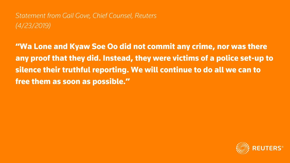 On April 23, Myanmar's Supreme Court in Naypyidaw rejected imprisoned Reuters journalists Wa Lone and Kyaw Soe Oo's appeal and confirmed their conviction. Reuters Chief Counsel Gail Gove issued the following statement. #FreeWaLoneKyawSoeOo