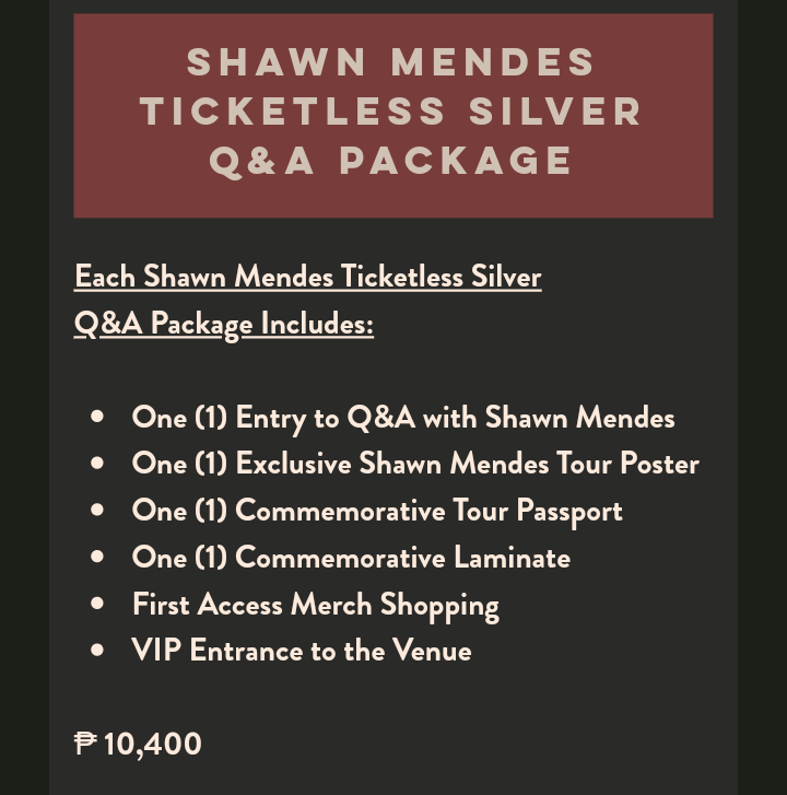 For those who purchase tickets, Asia Ticketless VIP Upgrades will be available Friday, May 17th at 10am   P20,800 M &amp; Gwith Q and A P10,400 Q and A   https://www. shawnmendesthetour.com/ticketless-vip -manila &nbsp; … <br>http://pic.twitter.com/XZjJqc1QAf