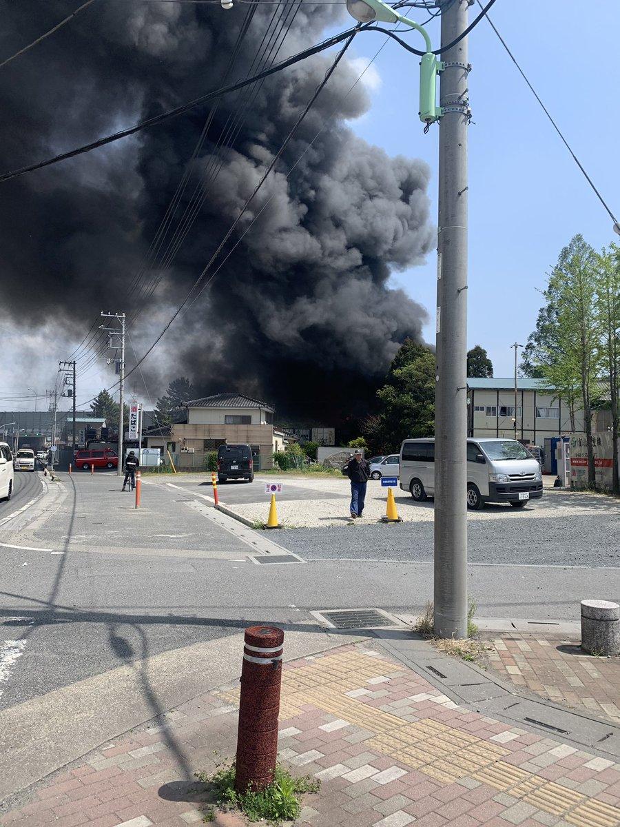 三郷市上口で火事が起きている現場画像