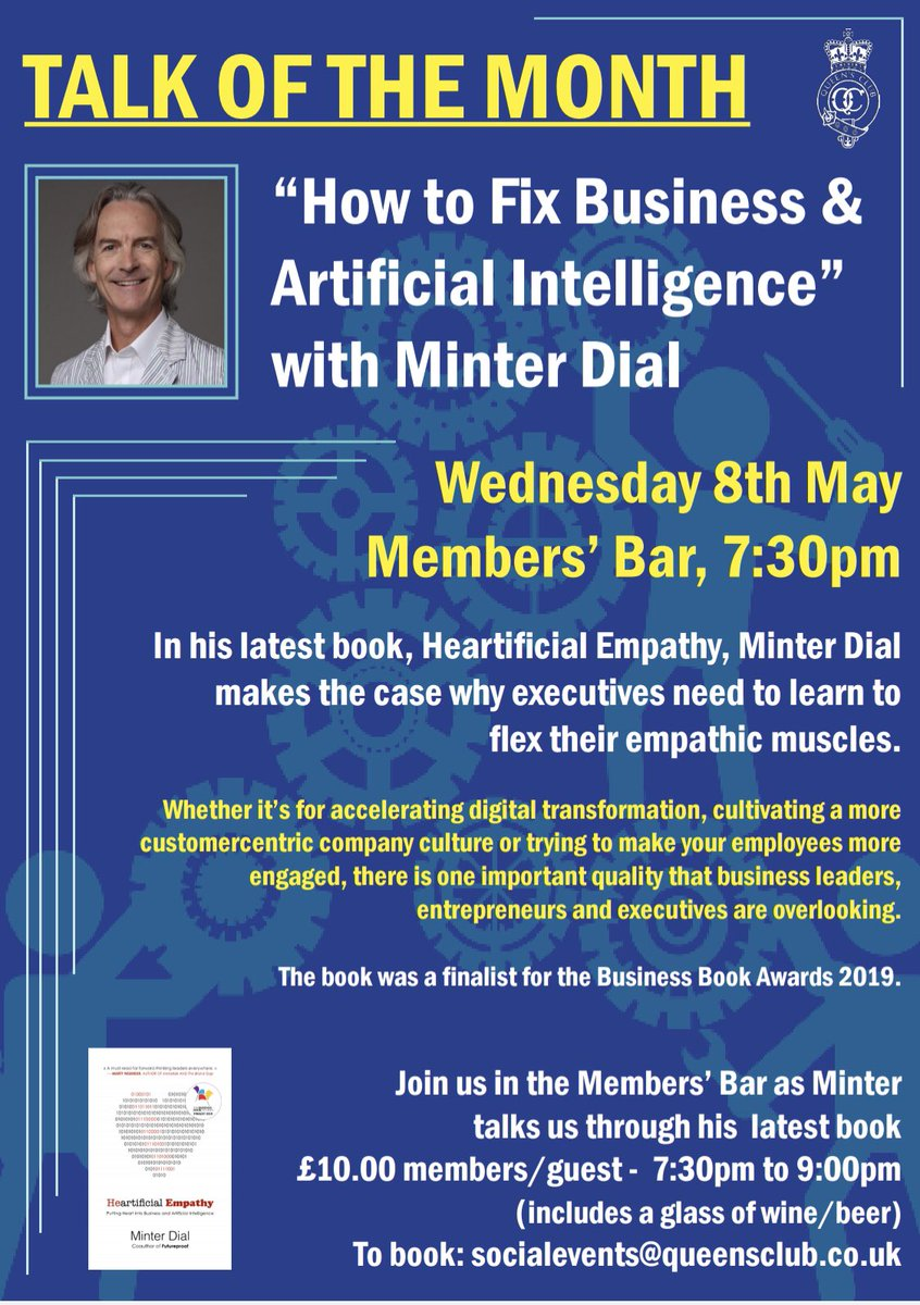 24 hours until the event about @Heartificial at #QueensClub. Sold out! #lookingforward #empathy<br>http://pic.twitter.com/lknhRexzTu