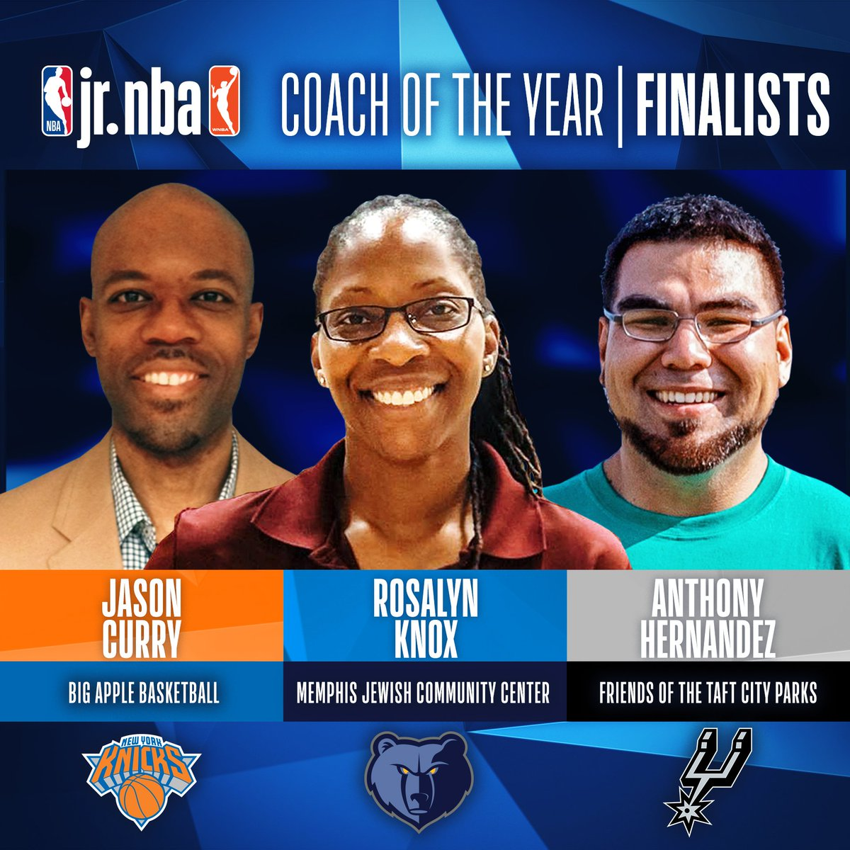 Announcing the 3 FINALISTS for the 2018-19 #JrNBACOY! The winner will be announced on May 17 at the Jr. NBA Youth Basketball Leadership Conference in Chicago!  Learn more: https://on.nba.com/2Ga8z7J