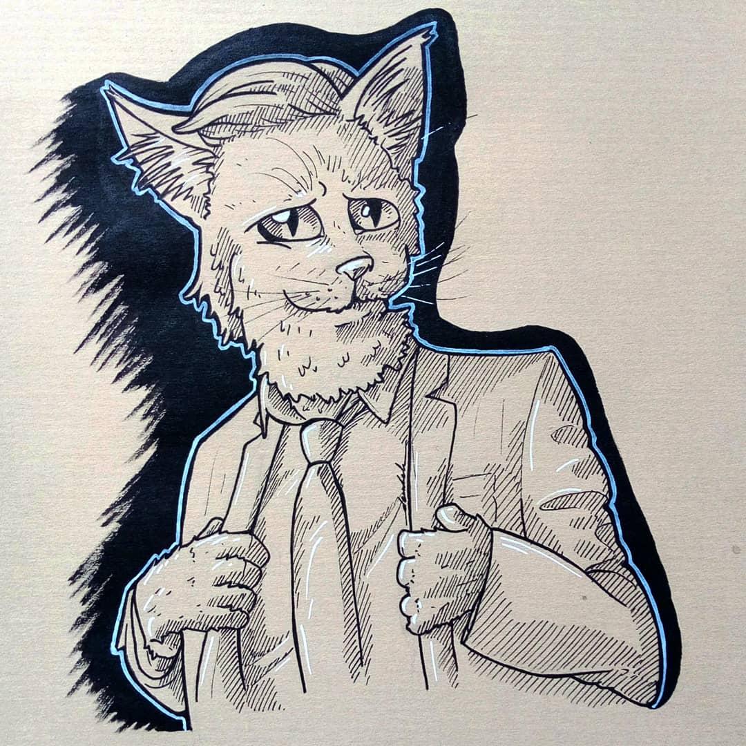 Hipster cat 🐱 👔 #dailyart #dailyillustration #cat #hipster #hipsterat #suit #pets #anthropomorphism #anthropomorph https://t.co/fSRbh1ZljP
