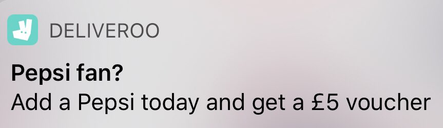 My delivery app clearly don't know who they're talking to!