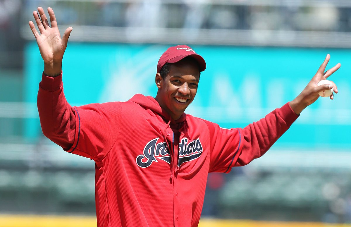 d01690fbdd55 retired cleveland cavaliers player channing frye threw the first pitch at  the indians game against seattle