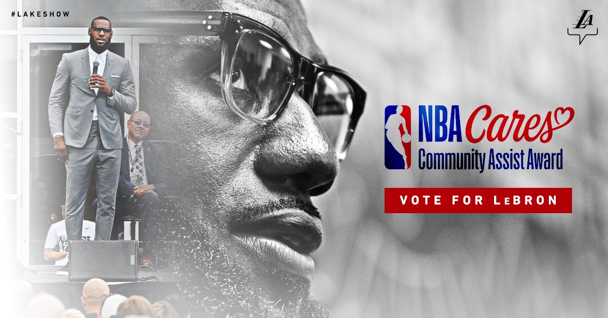 Last day to vote for @KingJames!  Votes worth double today, and RTs count 👑🗳  #LeBronJames + #NBACommunityAssist