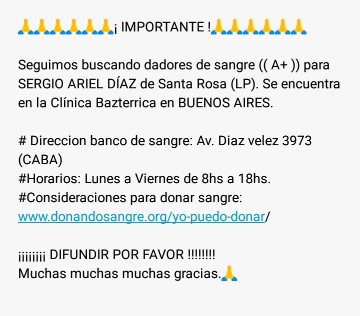 ¡¡¡¡¡¡¡ POR FAVOR COMPARTIR !!!!!!!!  @gcba @CABA @EmergenciasBA  #SantaRosa #LaPampa #Donantes #DonantesDeSangre #DonarSalvaVidas #BuenosAires #BA #BuenosAiresCiudad #CABA #BAEmergencias #Salud #SaludPublica #Compartir #Difundirpic.twitter.com/P3QMGgVT2U