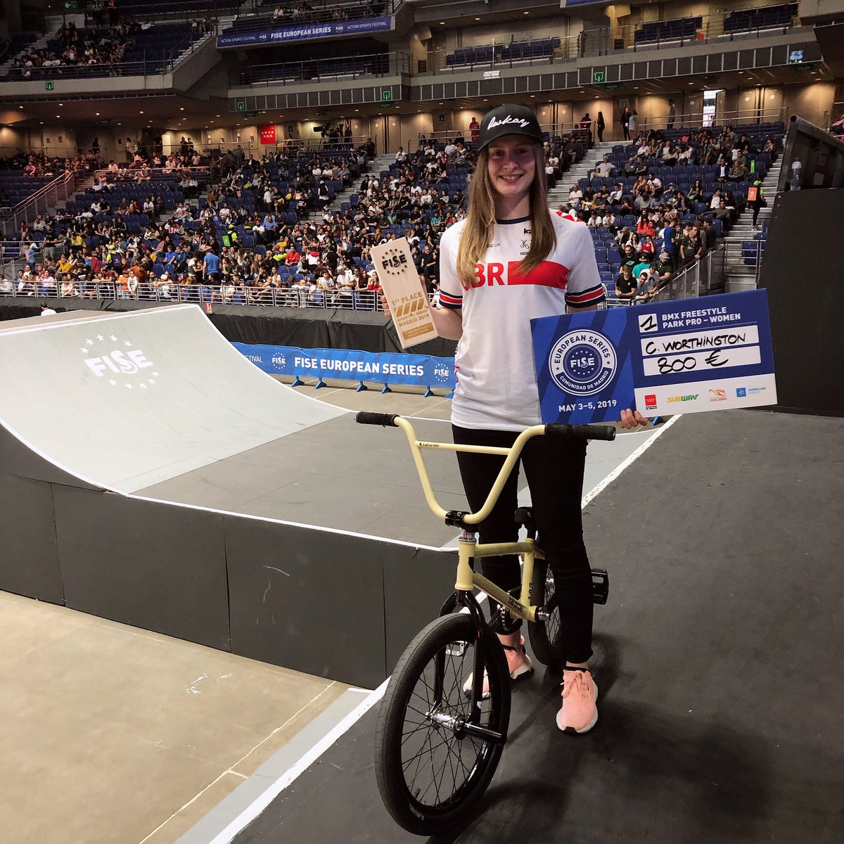 Stoked to bring home the win at @fiseeuropeanseries this weekend 🥇🇬🇧 congrats to @lara_lessmann 2nd and @jennifer_wohlrab_bmx_ in 3rd 👏🏻 Thanks for the support everyone and I hope to get back to Madrid again soon!  . . @tallorderbmx @britishcycling @alansbmx @owkayclothing