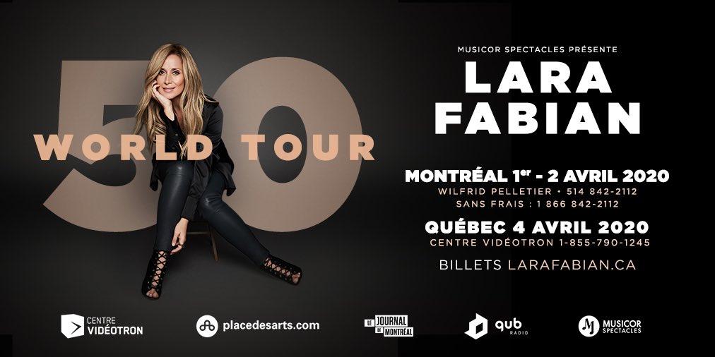 La tournée 50 WORLD TOUR s'arrêtera les 1er et 2 avril 2020 à la @Place_des_Arts et le 4 avril au @centrevideotron #LaVoixTva Billets par ici : http://bit.ly/LaraFabian50WorldTour…