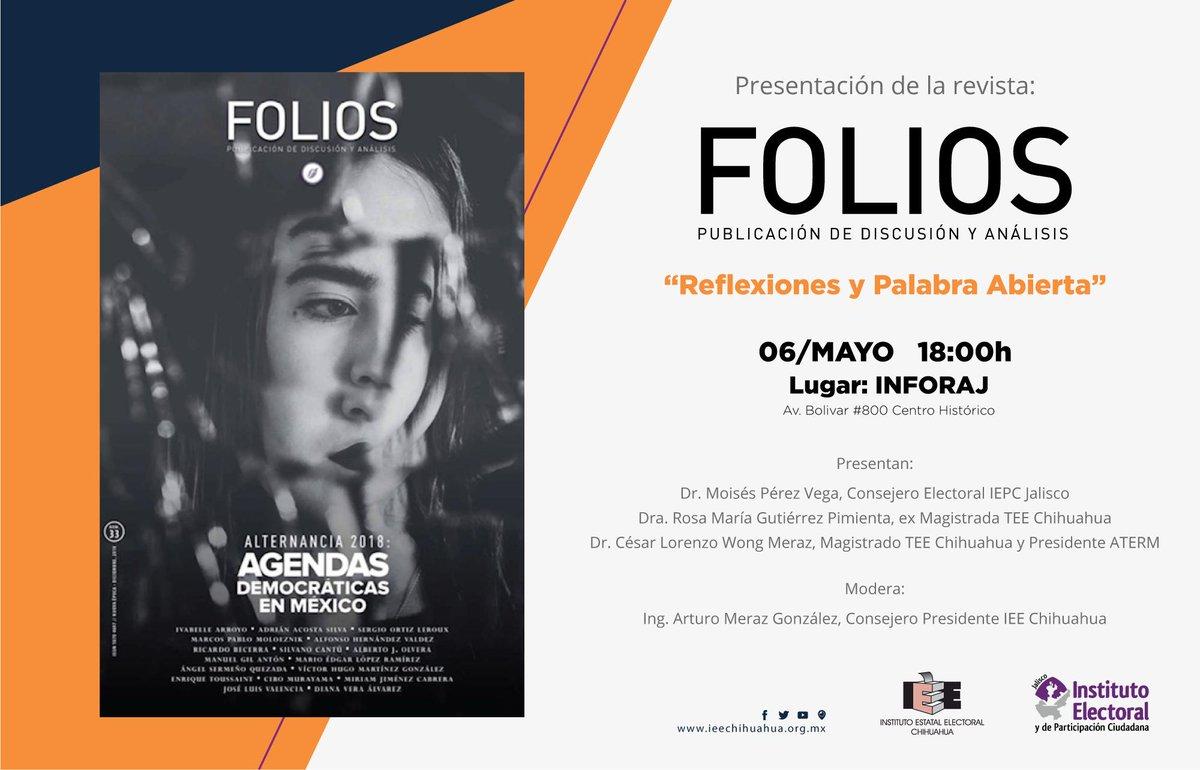 """Te invitamos a la presentación de la @RevistaFolios """"Reflexiones y Palabra Abierta"""", una publicación de discusión y análisis del @iepcjalisco. 📆 Mañana 06/05, 18:00h https://t.co/AZ0xI6Fx9h"""