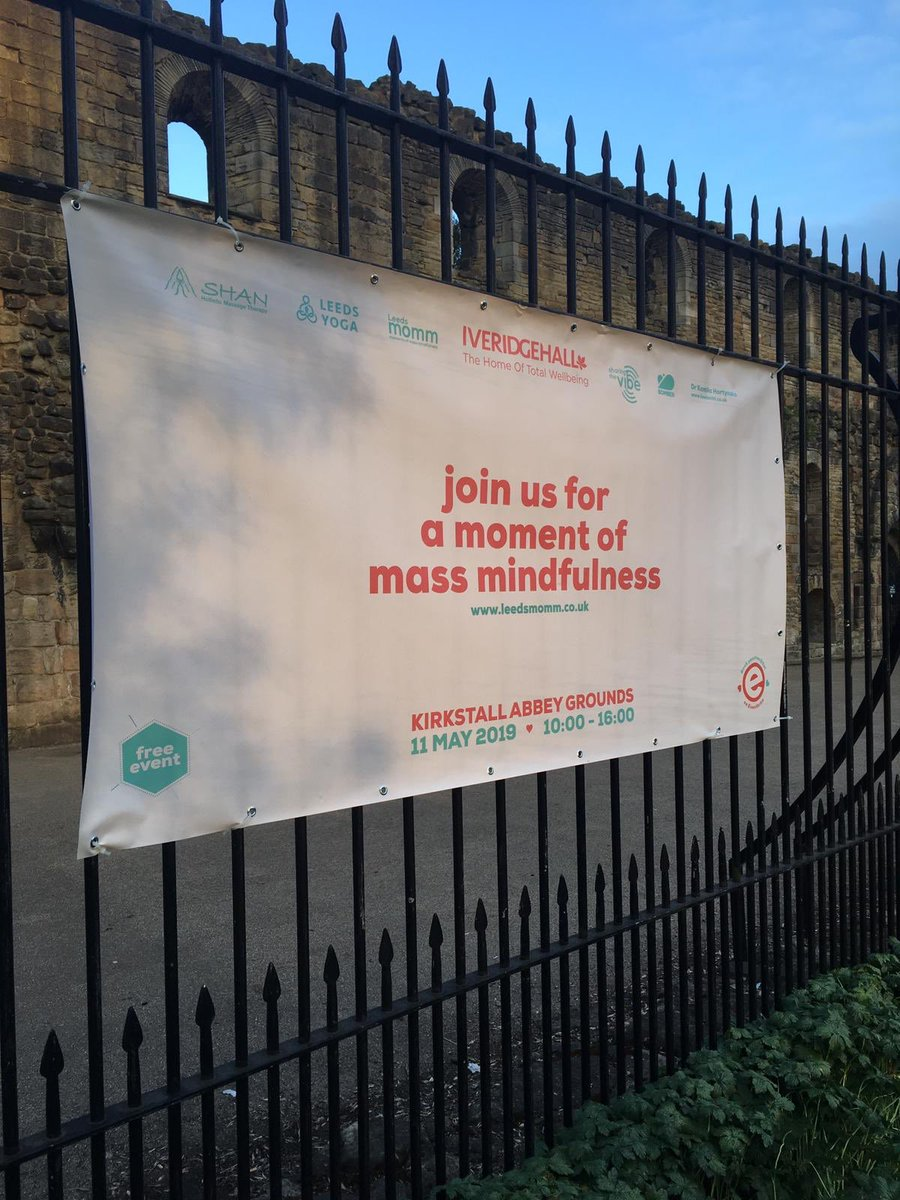 Our new banners are up in Kirkstall. Join us for the @LeedsMomm on Saturday! So many brilliant people are coming together. Free tickets via eventbrite #community #leeds #meditation  #mindfullness #selfcare #welbeing