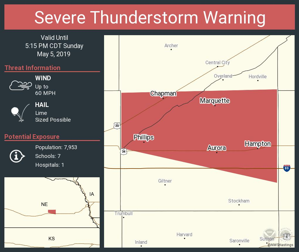 nws hastings on twitter severe thunderstorm warning including aurora ne hampton ne chapman ne until 5 15 pm cdt twitter